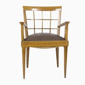 Sessel aus Walnuss und Leder, 1940er