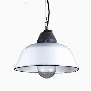 Lampe à Suspension Industrielle Vintage Blanche Émaillée de Szarvasi