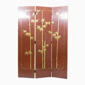 Biombo francés con tres paneles lacados, años 40