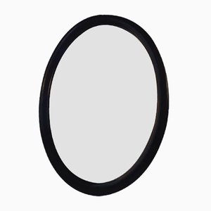 Oval Black Danish Wooden Wall Hung Mirror, 1940s