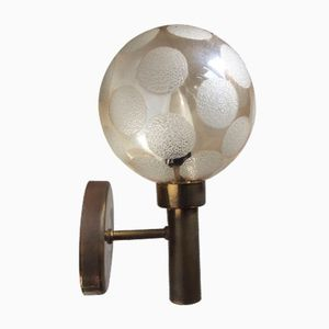 Swedish Brass & Glass Globe Sconce from Markaryd, 1960s