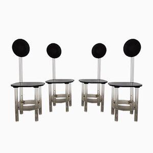 Chaises de Salon à Dossier Haut Sculpturales en Lucite Noires et Transparentes, 1970s, Set de 4