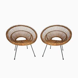 Französische Rattan Stühle, 1960er, 2er Set