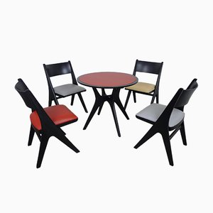 Dining Set with 4 Penguin Chairs by Carl Sasse for Casala, 1950s