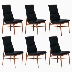 Up 636 Madison Walnuss Esszimmerstühle von Fred Sandra für De Coene, 1962, 6er Set