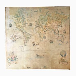 Large Vintage World Map in Oil on Canvas