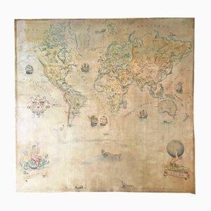 Mapamundi vintage grande de óleo sobre lienzo