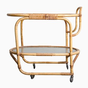 Serving Trolley in Rattan from Rohé Noordwolde, 1960s