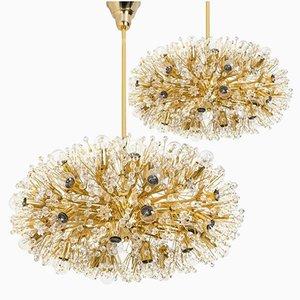 Lámparas de araña grandes bañadas en oro de Emil Stejnar para Rupert Nikoll, años 60. Juego de 2