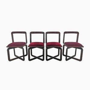 Chaises de Salon en Noyer, 1970s, Set de 4