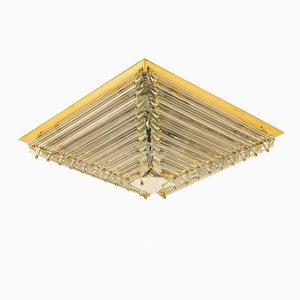 Lámpara de montaje de techo italiana grande chapada en oro con forma de pirámide de Venini, años 70