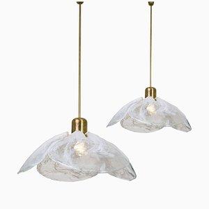 Lámparas colgantes en forma en forma de flores de cuatro pétalos de vidrio fundido, años 70. Juego de 2