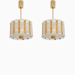 Austrian Gold Plated Bronze Drum Pendants from Kalmar, 1960s, Set of 2