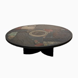 Brutalist Ceramic & Brass Artwork Coffee Table by Paul Kingma, 1970s