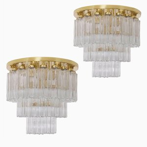 Large Brass Chandeliers from Glashütte Limburg, 1960s, Set of 2