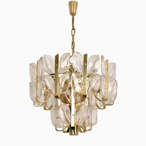 Mid-Century Florida Glass & Brass Pendant Light from Kalmar