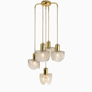 Austrian Cascading Textured Glass & Brass Chandelier from J.T. Kalmar, 1960s