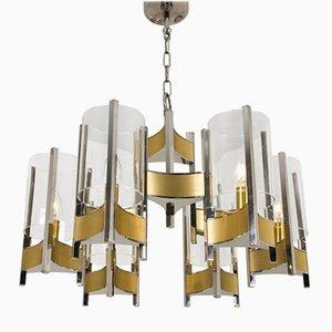 Lámpara de araña de cromo y vidrio con nueve luces de Gaetano Sciolari, años 60