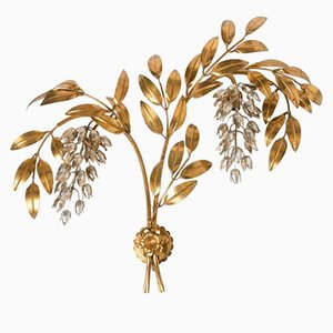 Large Pioggia D'Oro Gilt Metal Palm Tree Wall Sconce by Hans Kögl, 1970s
