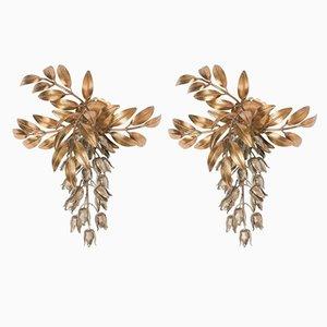 Vergoldete Pioggia D'Oro Metall Palmenblätter Wandlampen von Hans Kögl, 1960er, 2er Set