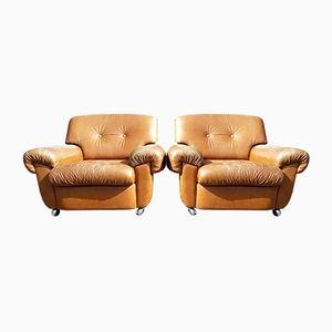 Club chair in pelle, anni '60, set di 2
