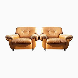 Leather Club Chairs, 1960s, Set of 2