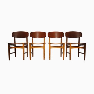 Model 122 Teak & Oak Dining Chairs by Børge Mogensen for Søborg, 1960s, Set of 4