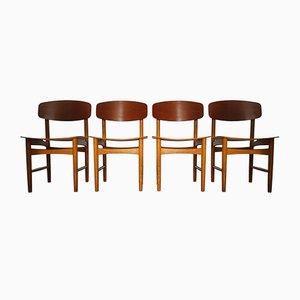Sedie da pranzo modello nr. 122 in teak e quercia di Borge Mogensen, anni '60, set di 4