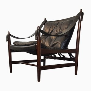 Danish Safari Chair in Leather and Mahogany, 1960s