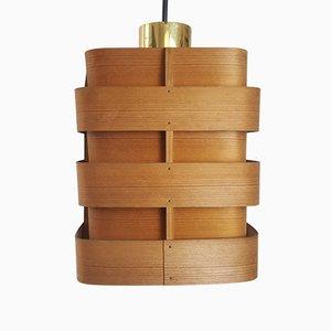 Lampada a sospensione in legno di Hans-Agne Jakobsson per Ellysett, anni '60