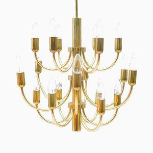 16-Light Golden Chandelier, 1960s