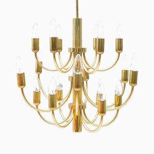 Lámpara de araña dorada de 16 luces, años 60