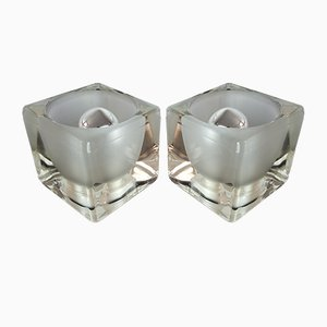Glass Cubic Lamps from Peill and Putzler, 1970s, Set of 2