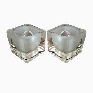 Lámparas cúbicas de vidrio de Peill & Putzler, años 70. Juego de 2