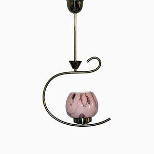 Lámpara colgante austriaca vintage con pantalla de vidrio opalino