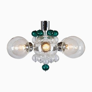Large Chandelier with Handblown Glass Globes from Kamenicky Senov, 1970s