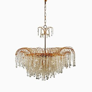 Vintage Swedish Cut Crystal Chandelier, 1976