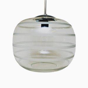 Lámpara de techo de escuela de vidrio escarchado rayado, años 20