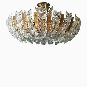 Vintage German Crystal Glass Ceiling Lamp from Palwa, 1960s