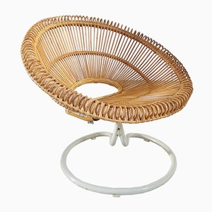 Rattan Swivel Lounge Chair, 1960s