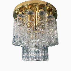 Lampada da soffitto a due livelli in vetro ed ottone di Glashütte Limburg, anni '60