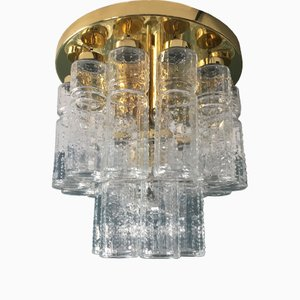 Two-Tier Glass & Brass Ceiling Lamp from Glashütte Limburg, 1960s