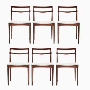 Vintage Palisander Esszimmerstühle von H.W. Klein für Christian Linneberg, 6er Set