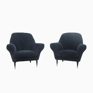 Italian Black Velvet Armchairs, 1950s, Set of 2