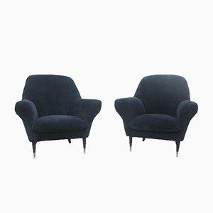 Italienische Sessel mit Bezug aus Schwarzem Samt, 1950er, 2er Set