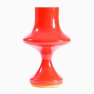 Lampada da tavolo in vetro opalino rosso di Karel Wolff per OPP Jihlava, Cecoslovacchia, anni '60