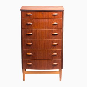Vintage Danish Teak Veneer Bowfront Chest of Drawers