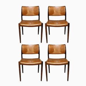 Modell 80 Palisander Esszimmerstühle von N.O. Møller für J.L. Møllers, 1960er, 4er Set