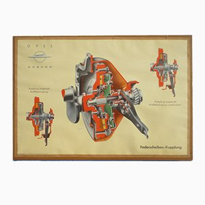 Driving School Wall Chart from Opel, 1950s