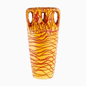 Hungarian Yellow-Red Ceramic Floor Vase, 1970s